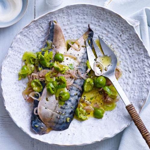 Marinated mackerel with green olive & celery dressing