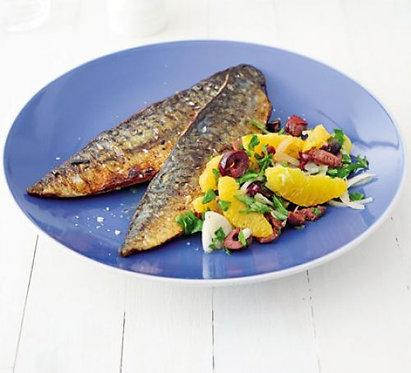 Pan-fried mackerel with orange salsa