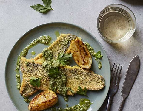 Cornmeal crusted grey mullet with zingy salsa verde