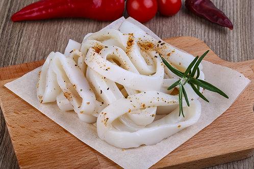 Frozen raw squid rings