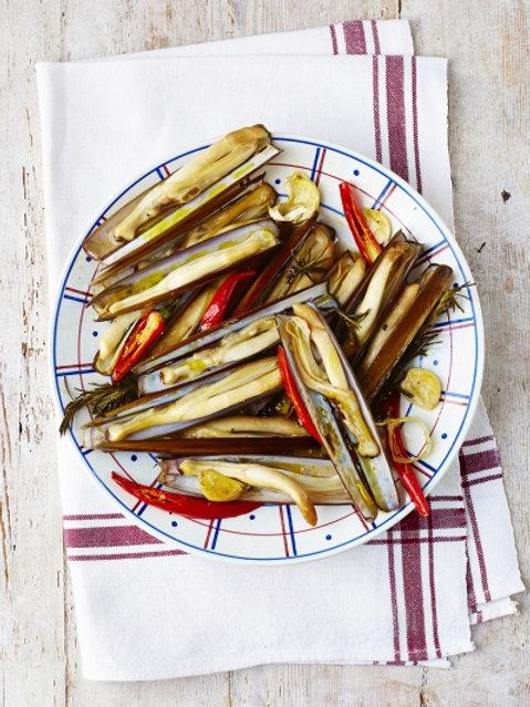 Jamie's roasted razor clams
