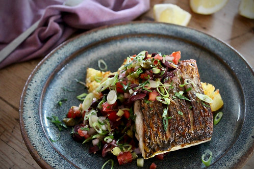 Pan-fried grey mullet with greek-style salsa & garlic new potatoes