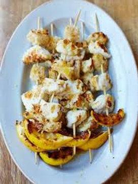 Jamie's chargrilled monkfish kebabs