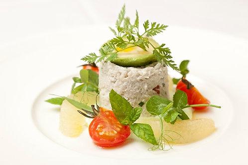 Crab salad with avocado cream