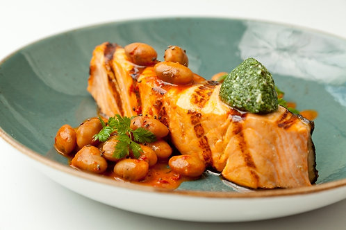 Grilled salmon with borlotti beans and 'nduja