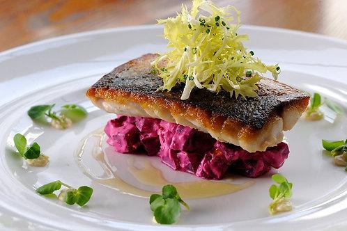 Seared mackerel with beetroot, horseradish and watercress