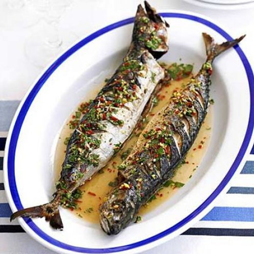 Barbecued mackerel with ginger, chilli & lime drizzle