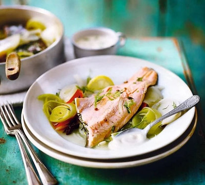 Steamed trout with vegetables poached in white wine