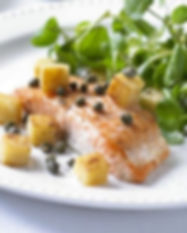Pan-fried salmon with watercress, polent