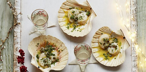 Scallops with caper and lemon butter sauce