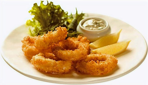 Frozen panko coated squid rings