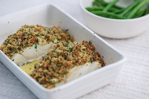 Baked pollock with a cheddar and herb crust
