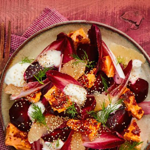 Harissa trout, beetroot & grapefruit salad with whipped feta