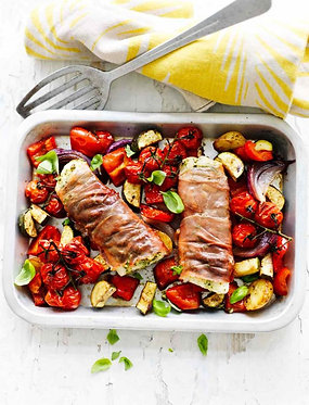 Parma ham-wrapped cod and Mediterranean vegetables