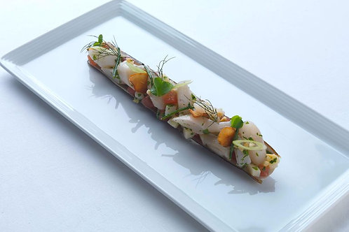 Razor clams with spring onions & almond