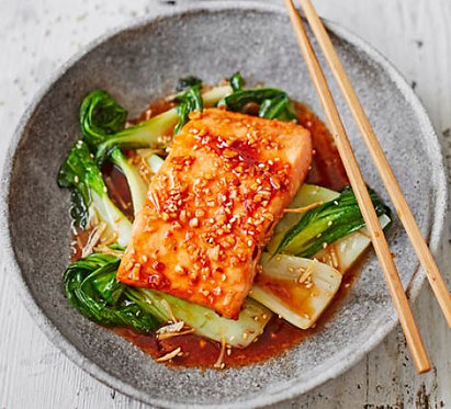 Teriyaki salmon with sesame pak choi