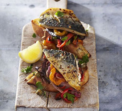 Grilled mackerel with escalivada & toasts