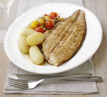 Pan-fried Dover sole with warm tomato compote