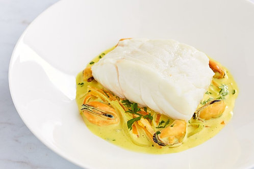Steamed cod with curried mussels & carrots