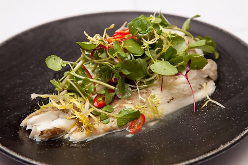 Steamed plaice with ginger and soy