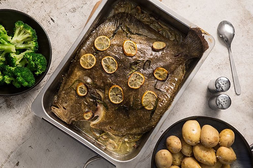 Roast turbot with fennel, tarragon and lemon