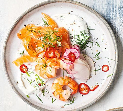Asian cured salmon with prawns, pickled salad & dill lime crème fraîche