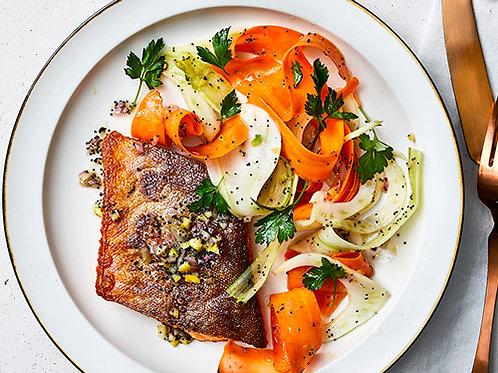 Crispy Arctic Char with fennel-carrot salad