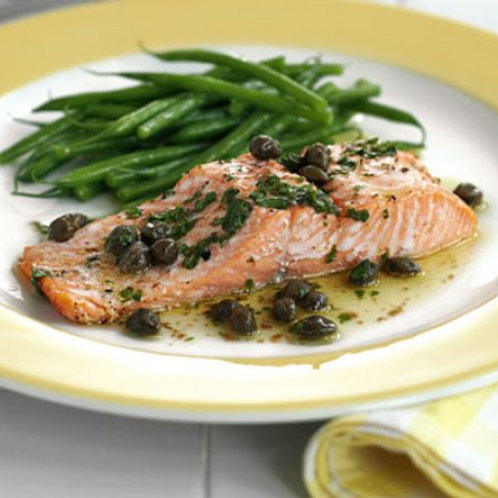 Buttery trout with capers
