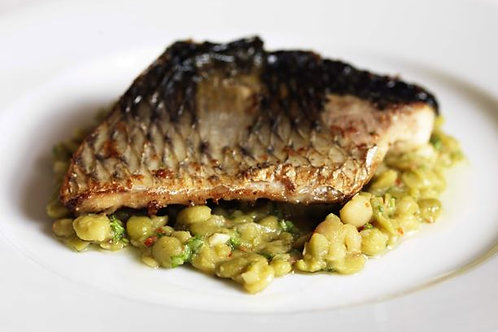 Roast grey mullet with green split peas and cumin