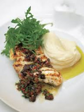 Jamie's monkfish with black olive sauce & lemon mash