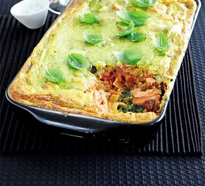 Baked salmon & aubergine cannelloni
