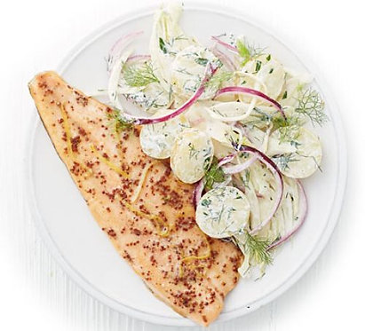 Scandi trout with fennel potato salad