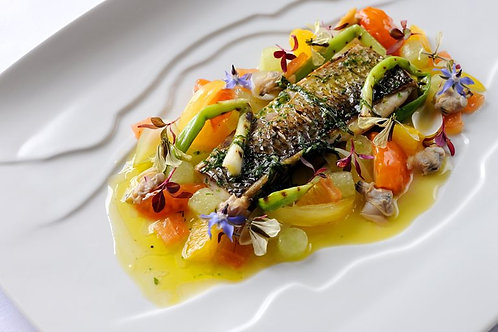 Fillet of grey mullet with spring onions, cucumber and sauce vierge