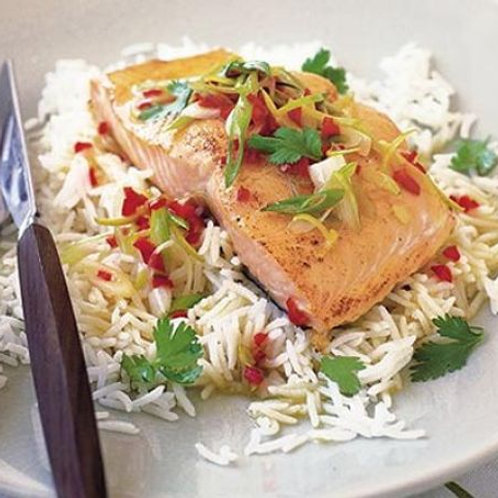 Salmon with chilli & lime butter