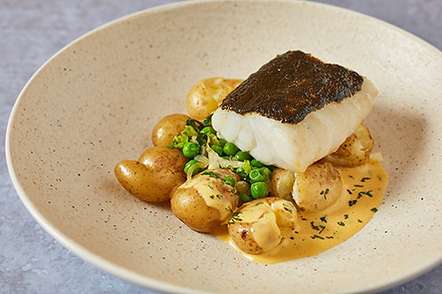 Seaweed butter-baked cod with pea & lettuce fricassee