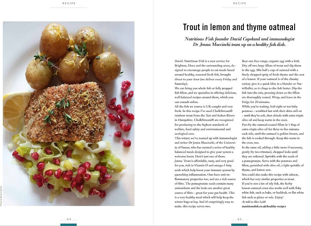 Trout in lemon and thyme oatmeal