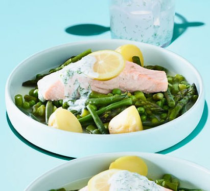 Steamed trout with mint & dill dressing