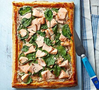 Salmon & spinach tart