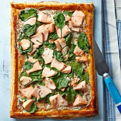 Salmon & spinach tart