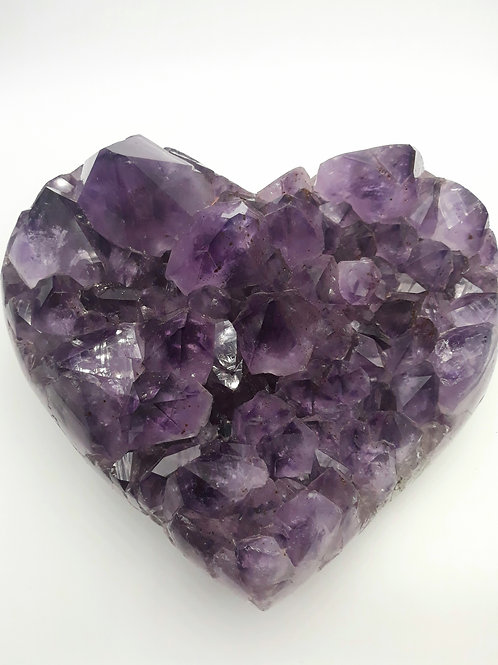 Amethyst Heart on Metal Stand