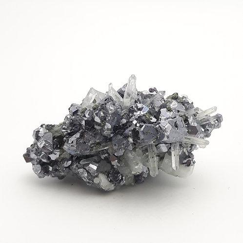 Galena with Quartz and Pyrite
