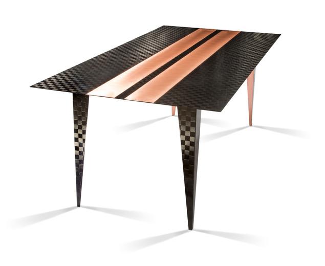 Carbon fibre & copper dining table.