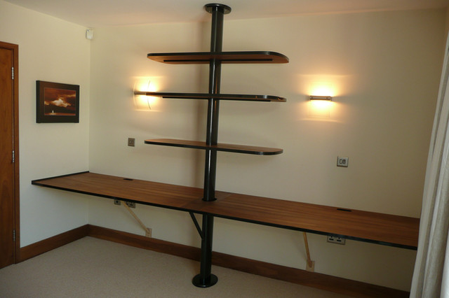 Yacht mast shelf and desk unit, with high gloss carbon and oiled european walnut.