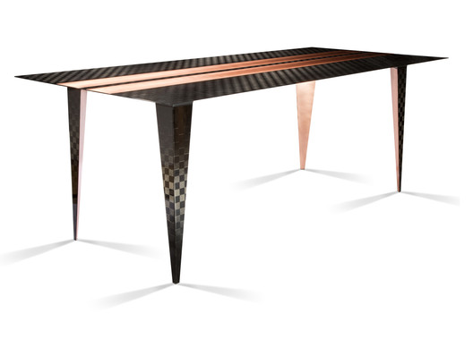 Carbon fbre & copper dining table.