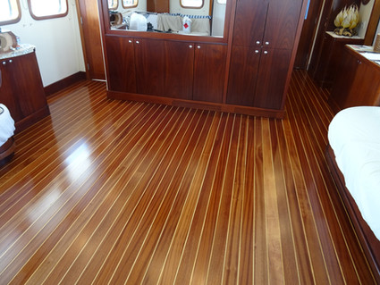 New saloon floor made and installed. Sepele and boxwood with satin finish.