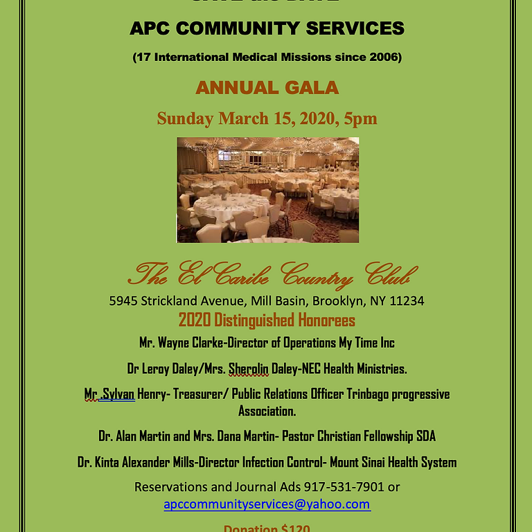 APC COMMUNITY SERVICES ANNUAL GALA Sunday March 15, 2020, 5pm