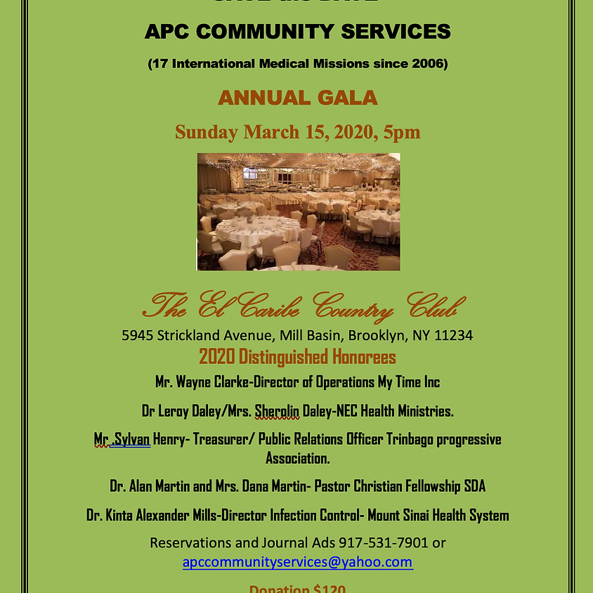 APC COMMUNITY SERVICES ANNUAL GALA Sunday March 15, 2020, 5pm