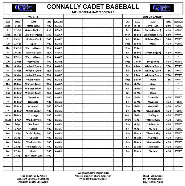 2021 Connally Baseball Master Program Sc