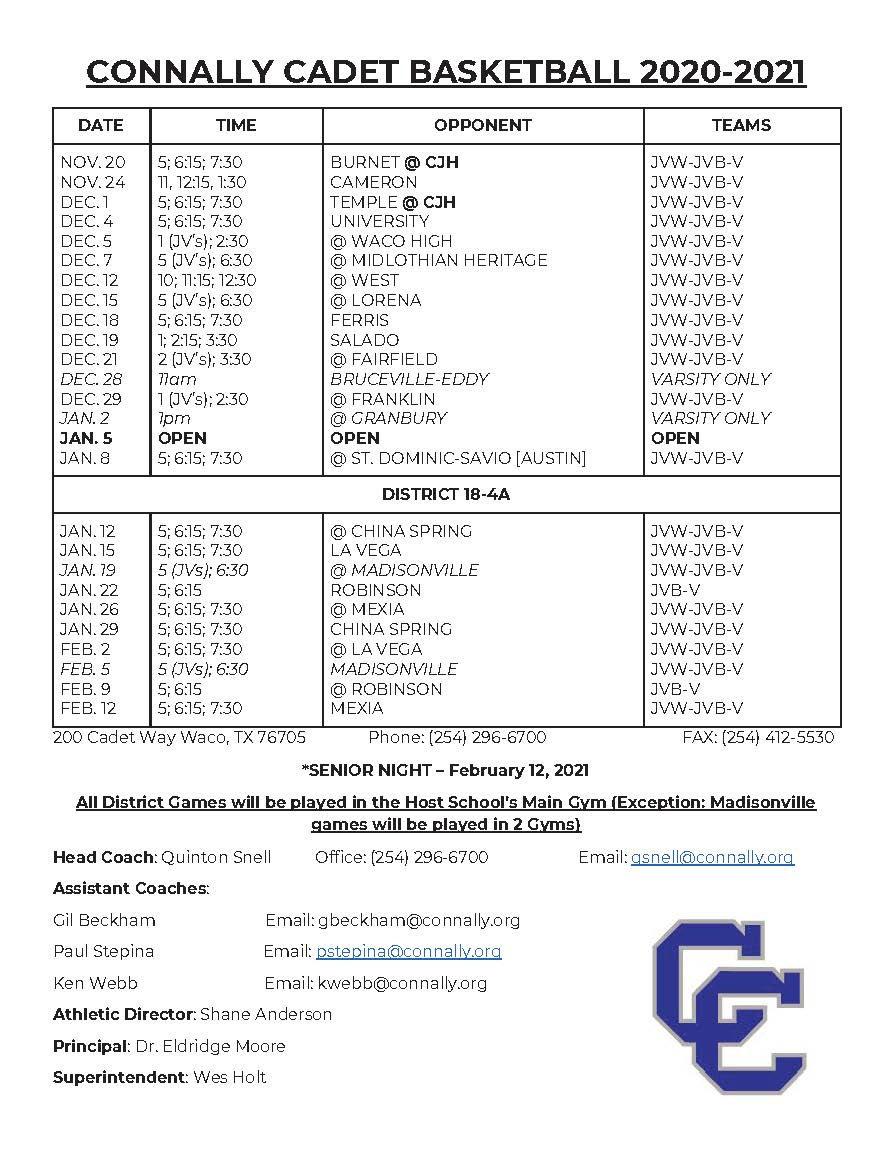 CONNALLY CADET BASKETBALL SCHEDULE 2020-