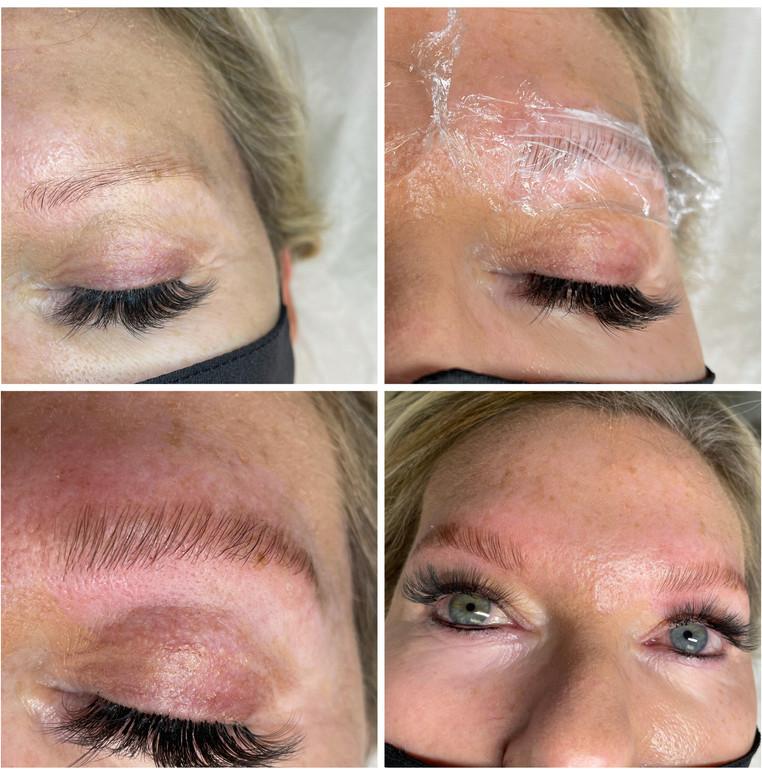 Brow Lamination (before/during/after) & Volume Fullset Eyelash Extensions